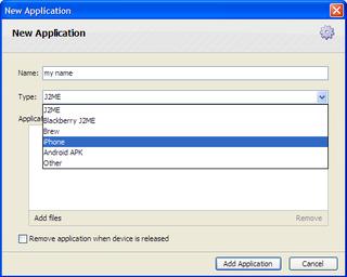 Iphone add application dialog